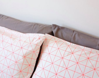 100% Cotton Orange Geometric Curves Pillowcases