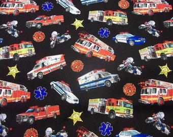 EMERGENCY VEHICLES    Multi Design  1  Yard  Piece  100% Cotton Fabric  by  Elizabeth Studios