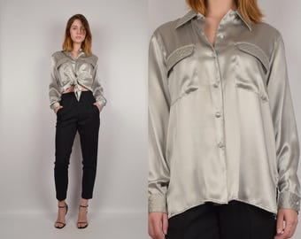 Vintage Silver Silk Button Down Shirt