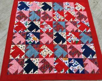 "Red flannel ""T"" quilt, red, blue, green, winter, skates, mittens, socks, handmade, MaterialThings2"