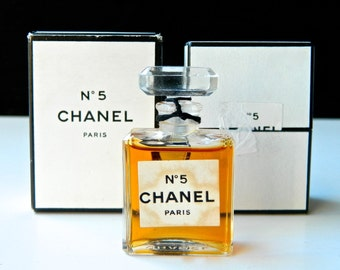 Vintage CHANEL No 5 Pure Perfume Extrait .25 oz (7.5 ml) Crystal Stopper Both Original Boxes
