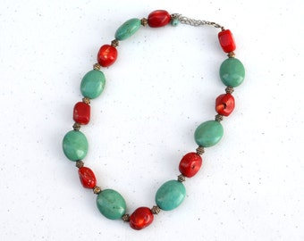 Vintage Necklace, Stone Necklace, Red and Turquoise Necklace, Short, Chunky Jewelry, Women's Vintage Jewelry, Jewellery