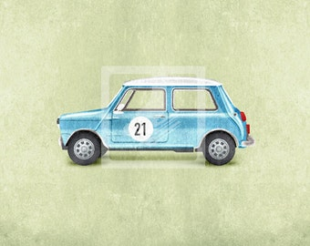 Blue Vintage Car - Mini Cooper Wall Art Room Decor Print for Nursery or Big Kid Boy or Girl