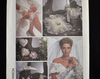 Bridal Accessories - Gloves, Garter, Purse, Ring Pillow, Hanger, Basket Cover - UNCUT - Simplicity 8530