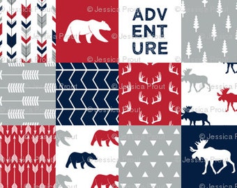 Adventure-Bear and Moose Patchwork Minky Blanket or Quilt