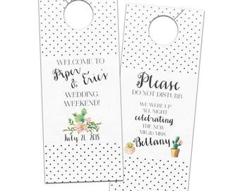 Modern cactus southwestern polka dot wedding hotel door hangers - customizable bridal for guest favors or welcome bag