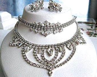 Clear Rhinestone Winter Wedding Swag Choker, White Ice Parure, Bib Necklace, Bracelet, Earrings, Vintage Fashion Glitz, New Years Eve