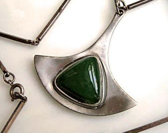 Mid Century Modern Pendant by CoroCraft, Green Glass Open Stone, Danish Design, Scythe Pendulum Shape, Pewter Satin Finish, Silver Bar Chain