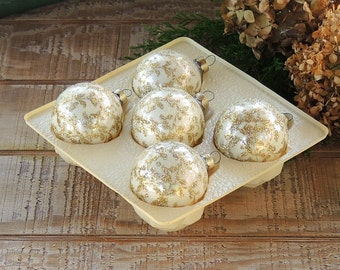 Victoria Blown Glass White and Gold Glitter Christmas Tree Ornaments Set of 5 Boxed Set Holiday Decor Tree Trimming Opalescent Glass Balls