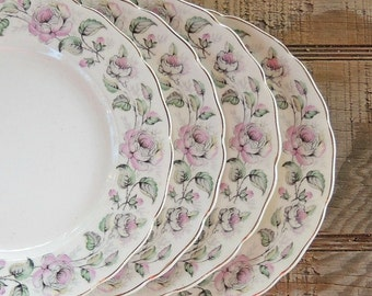 Vintage Canonsburg Queen's Rose Bread and Butter Plates Set of 4 Cottage Style Tea Party Plates for Wedding Ca. 1940s