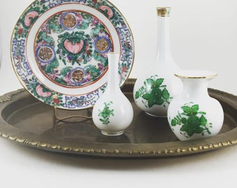 Herend Bud Vases, Green Chinese Bouquet, Petite Green Herend Vases