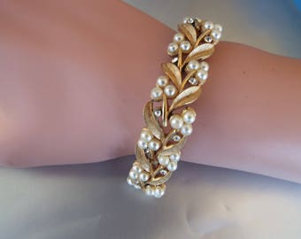 1950s Crown Trifari brush gold leaf  pearl cluster diamond bracelet signed  wedding bracelet