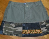 Upcycle Camo Hippie skirt... Gap....size 6...