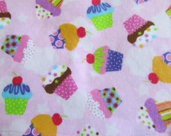 Cupcakes, Extra large flannel receiving blanket, swaddling blanket, for baby girl, Pink and Purple cupcakes, reusable gift wrap