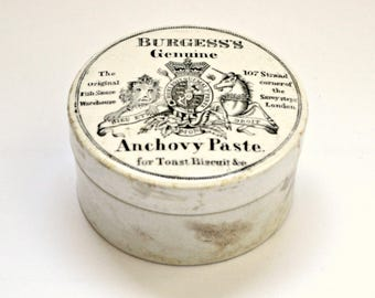 Antique Anchovy Paste Stoneware Lidded Pot
