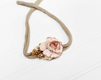 Blushing Beauty - beautiful dainty and simple flower headband in cream, dusty blush, champagne, tan and gold (RTS)