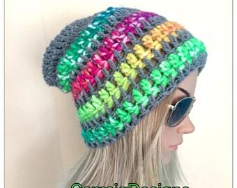 BUY1GET1HALFPRICE Womens hand crochet knit oversized slouch beanie dread hat rainbow multi hippie boho tam teens unique designer
