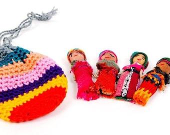 Worry Dolls in Crochet Bag Fair Trade Handmade