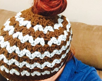 Messy Bun Hat - custom - choose any two colors!