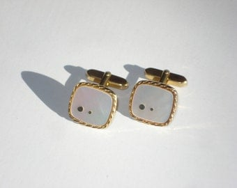 Vintage Cufflinks - Mother of Pearl Gold Tone Mens Accessories 1960s