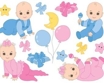 70% OFF SALE Baby Clipart - Digital Vector Baby Girl, Baby Boy, Newborn, Baby Shower Clip Art