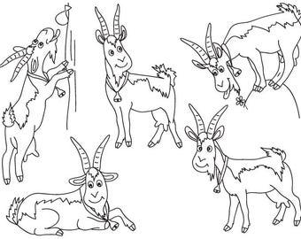 Goats Clipart - Digital Vector Farm, Animal, Goat, Wild Animal, Barn Yard, Goats Clip Art