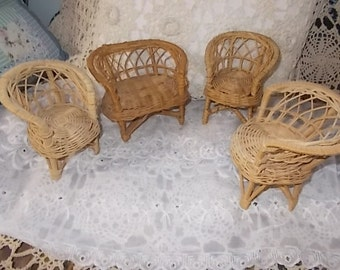 Wicker Barbie Furniture, Wicker Doll Furniture, Barbie Doll Furniture, Barbie Dolls, Doll Furniture, Toys, Vintage Toys
