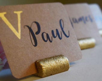 Gold Wine Cork Place Card Holder or Place Setter, Wine Cork Name Badge Name Card Holder