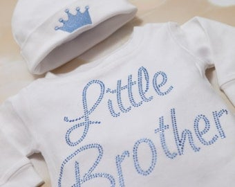 Little Brother Infant Baby Boy Layette Romper Set Cotton Baby Boy Romper with Little Brother in Sapphine Rhinestones