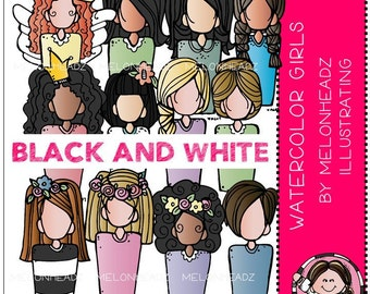Watercolor Girls clip art - BLACK AND WHITE