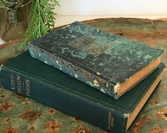 Antique Book Collection Green Longfellow and Elizabeth Barrett Browning Library Shelf