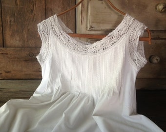 French Linen Lace Chemise Nightgown White Nightdress Embroidered Monogrammed French Farmhouse