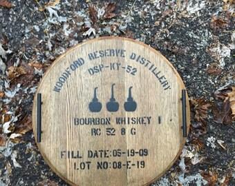 Woodford Reserve Bourbon Whiskey Barrel Head Serving Tray