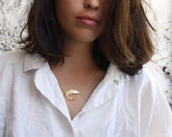 Gold necklace, Gold pendant necklace, Vintage gold necklace, art nouveau necklace, large gold pendant necklace, short pendant necklace