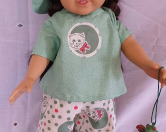 18 inch green doll outfit with toy