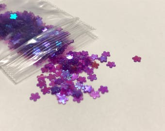 Tiny bright purple iridescent flower confetti , 3 mm (39)