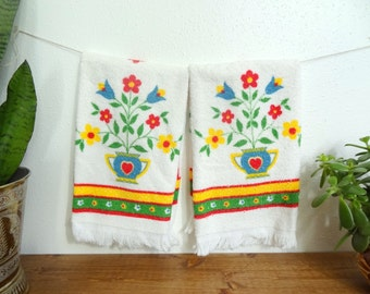 Bright Retro Scandi Folk Style Hand Towels/Guest Towels