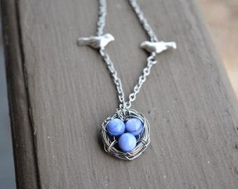 Three Bird Nest Necklace, Purple Three Egg Nest Pendant, Purple Bird Nest, Birds Nest Necklace, necklace for mom