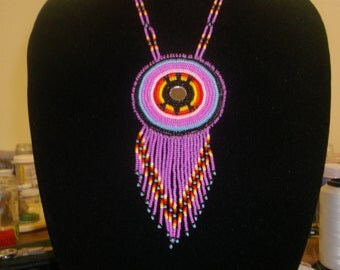 beaded turtle necklace, native american turtle necklace