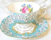 English floral tea cup  Royal Albert Enchantment vintage teacup tea cups english teacup blue vintage teacup 499
