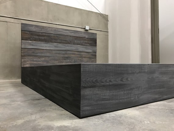 the michelle grey weathered reclaimed wood bed frame. Black Bedroom Furniture Sets. Home Design Ideas