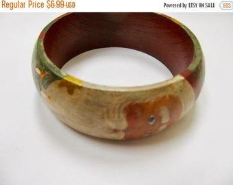 On Sale Hand Painted Wooden Santa Claus Bangle Bracelet Item K # 3256