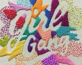 "Girl Gang - 6"" Hand Stitched & Beaded Calligraphy Hoop Art"