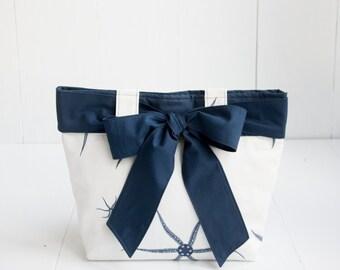 Seastar Handbag with Navy Blue Bow-Medium White and Navy Purse-Premier Prints Seastar