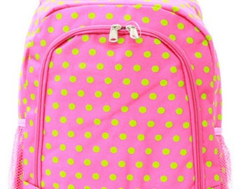 Personalized Backpack, pink and lime polka dot,  back to school, sale