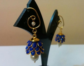 Three- tier Indian pacchi, pachi jhumkas in dark blue with golden hook, Indian jewelry, earing