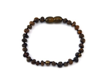 Baltic Amber Bracelet Teething Child Toddler Baby - Rounded Polished Dark