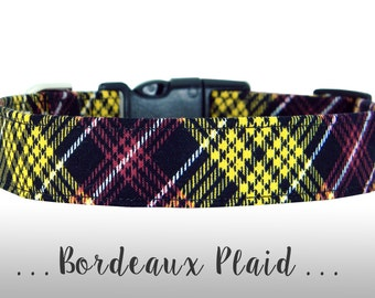 Black Plaid Dog Collar; Burgundy and Golden Yellow Dog Collar: Bordeaux Plaid