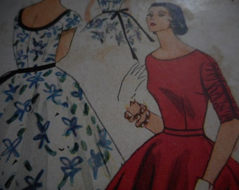 Vintage 1950's Simplicity 4244 Dress with Separate Petticoat Sewing Pattern, Size 12 Bust 30