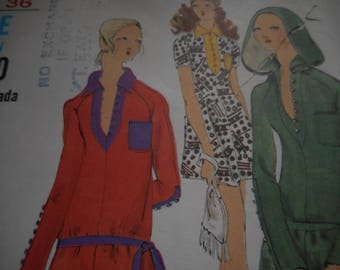 Vintage 1970's MISS VOGUE 7854 Mini Dress or Tunic Sewing Pattern, Size 10 Bust 32 1/2 or Size 12 Bust 34